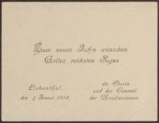 Bilecik: Zum neuen Jahre wünschen Gottes reichsten Segen (02.01.1903 r.)