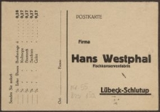 Postkarte: Firma Hans Westphal Fischkonservenfabrik Lübeck-Schlutup