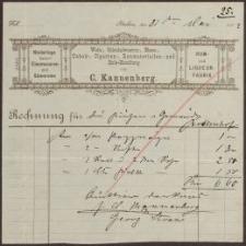 Rechnung: Wein-, Colonialwaaren-, Eisen-, Tabak-, Cigarren-, Baumaterialien- und Holz-Handlung von C. Kannenberg