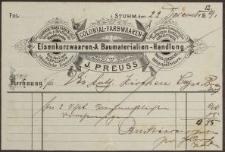 Rechnung: Colonial-Farbwaaren, J. Preuss