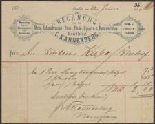 Rechnung: Wein-, Colonialwaaren-, Eisen-, Tabak-, Cigarren-, Baumaterialien- und Holz-Handlung von C. Kannenberg (30.06.1890)