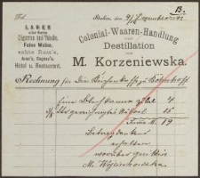 Rechnung: Colonial-Waaren-Handlung und Destillation M. Korzeniewska (09.12.1892)