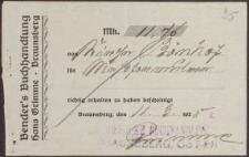Rechnung: Bender's Buchhandlung Hans Grimme