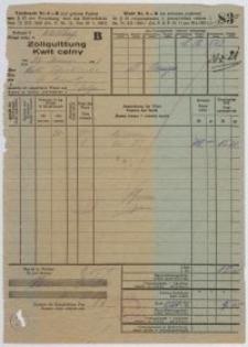 Zollquittung - kwit celny (04.02.1927)
