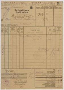 Zollquittung - kwit celny (26.01.1929)
