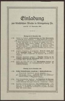 Einlandung zur Kirchlichen Woche in Königsberg Pr.