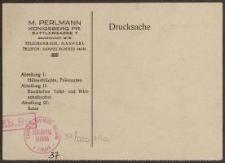 Drucksache: M. Perlmann, Königsberg Pr.