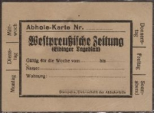 """Abhole-Karte """"Westpreußische Zeitung""""(Elbinger Tageblatt)"""