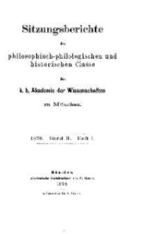 Sitzungsberichte der philosophisch-philologischen ...1878, Bd. II, Heft I.