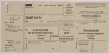 Zahlkarte: Feuersozietät für die Provinz Ostpreußen Geschäftsstelle Elbing