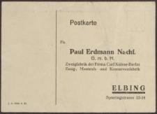 Postkarte: Paul Erdmann Nachf.