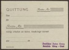 Quittung (z pieczęcią: Deutsches Rotes Kreuz Kreisstelle Elbing=Stadt)