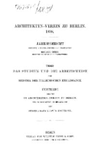 Architekten-Verein zu Berlin. Jahresberichte, 1898