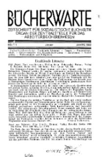 Bücherwarte: Zeitschrift für Sozialistische Buchkritik, 1933, H. 1.