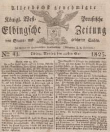Elbingsche Zeitung, No. 43 Montag, 30 Mai 1825