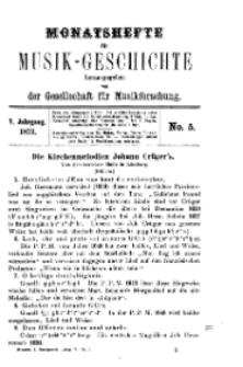 Monatshefte für Musik-Geschichte, Jg. V, 1873, No 5.