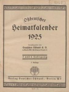 Ostdeutscher Heimatkalender, 1925, 3.-4. Jahrgang