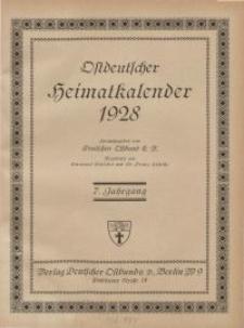 Ostdeutscher Heimatkalender, 1928,7. Jahrgang
