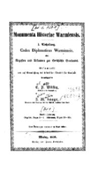 Monumenta Historiae Warmiensis oder Quellensammlung zur Geschichte Ermlands