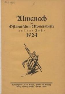 Almanach der Ostdeutschen Monatsefte auf das Jahr 1924