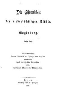 Die Chroniken der Deutschen Städte: T. 27-28. Bd. 2. Magdeburg
