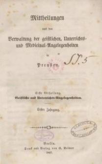 1. Abt. Geistliche und Unterrichts-Angelegenheiten. 1. Jhrg.