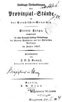 Landtags-Verhandlungen der Provinzial-Stände..., 4. Folge 1827