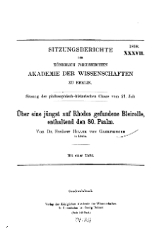 ...1898, XXXVII, Sitzung der philosophisch-historischen Classe vom 21. Jul, H. von Gaertringen, Über eine jüngst auf Rhodos gefundene Bleirolle, enthaltend den 80. Psalm