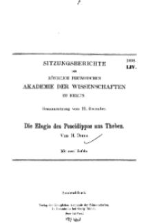 ...1898, LIV, Gesammtsitzung vom 22. December, H. Diels, Die Elegie des Poseidippos aus Theben