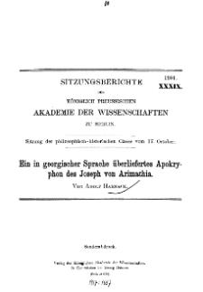 ...1901, XXXIX, Sitzung der philosophisch-historischen Classe vom 17. October, Ein in georgischer Sprache überliefertes Apokryphon des Joseph von Arimathia