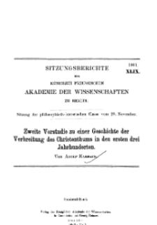...1901, XLIX, Sitzung der philosophisch-historischen Classe vom 28. November, A. Harnack, Zweite Vorstudie zu einer Geschichte der Verbreitung des Christenthums in den ersten drei Jahrhunderten