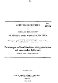 ...1903, XXXIX, Sitzung der philosophisch-historischen Classe vom 30. Juli, A. Harnack, Forschungen auf dem Gebiete der alten grusinischen und armenischen Litteratur