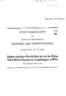 ...1904, III, Gesammtsitzung vom 14. Januar, T. Wiegand, Dritter vorläufiger Bericht über die von den Königlichen Museen begonnenen Ausgrabungen in Milet