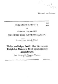 ...1906, VIII, Gesammtsitzung vom 15. Februar, T. Wiegand, Fünfter vorläufiger Bericht über die von den Königlichen Museen in Milet unternommenen Ausgrabungen