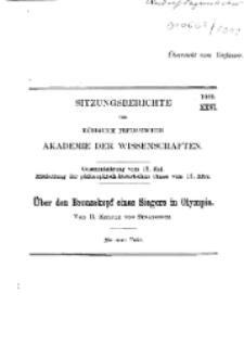 ...1909, XXVI, Gesammtsitzung vom 13. Mai, R. Kekule von Stradonitz, Ueber den Bronzekopf eines Siegers in Olympia