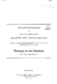 ...1913, XXXVII, Sitzung der philosophisch-historischen Classe vom 17. Juli, C. Schuchhardt, Westeuropa als alter Kulturkreis