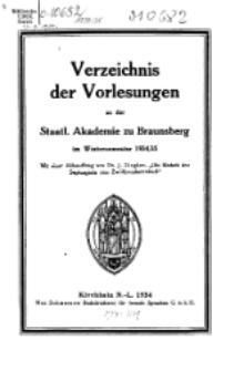 Verzeichnis der Vorlesungen an der Staatl. Akademie zu Braunsberg im Wintersemmester 1934/35