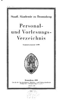 Staatl. Akademie zu Braunsberg. Personal- und Vorlesungsverzeichnis