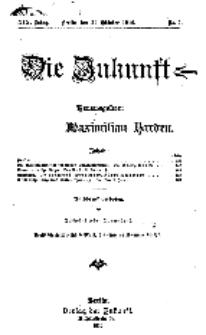 Die Zukunft, 29. Oktober, Jahrg. XVI, Bd. 73, Nr 5.