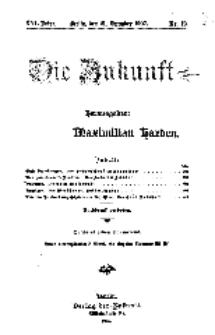 Die Zukunft, 21. Dezember, Jahrg. XVI, Bd. 61, Nr 12.