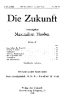 Die Zukunft, 8./22. Juli, Jahrg. XXX, Bd. 118, Nr 41/43.