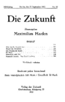 Die Zukunft, 23. September, Jahrg. XXX, Bd. 118, Nr 52.