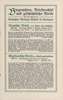 Biographien, Briefwechsel und geschichtliche Werke [ulotka]