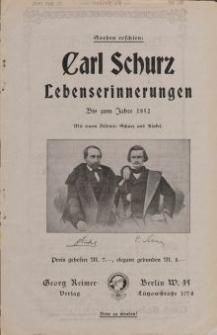Carl Schurz: Lebenserinnerungen [ulotka]