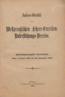 Jahresbericht des Westpreußischen Lehrer-Emeriten-Unterstützungs-Vereins 1884-1885