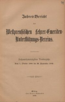 Jahresbericht des Westpreußischen Lehrer-Emeriten-Unterstützungs-Vereins 1888-1889