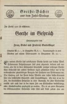 Goethe-Bucher aus dem Insel-Verlage [ulotka]