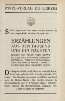 Insel-Verlag zu Leipzig...Erzählungen aus den Tausend und ein Nächten... [ulotka]