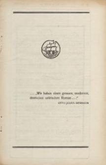 """Otto Julius Bierbaum...""""Wir haben einen grossen, modernen, deutschen satirischen Roman..."""" [ulotka]"""