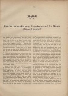 Flugblatt Nr III. Sind die nationalliberalen Abgeordneten auf den Namen Bismarck gewählt?